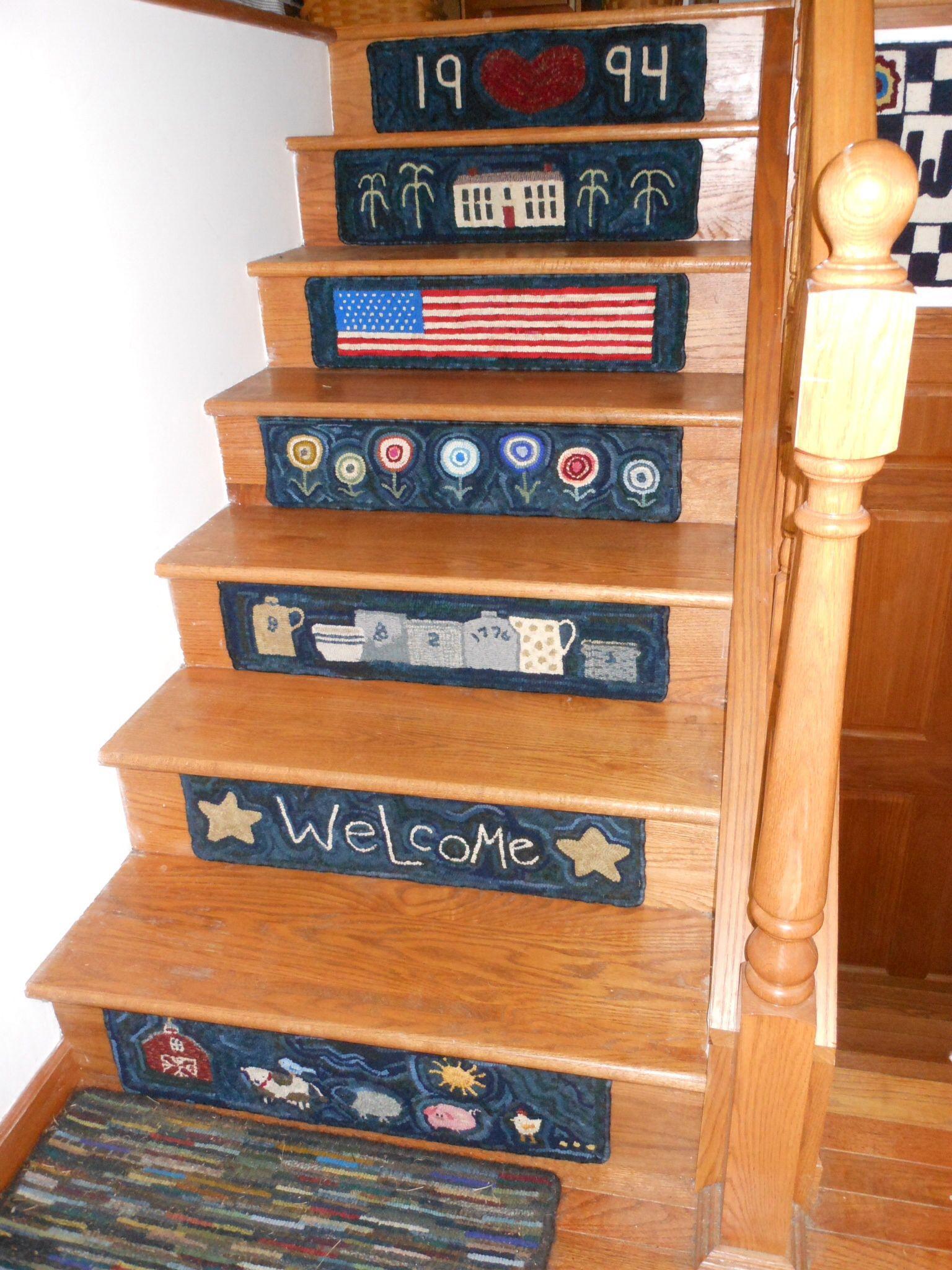 Best My Stair Treads Rug Hooking Designs Hooked Rugs Primitive Stair Rugs 400 x 300