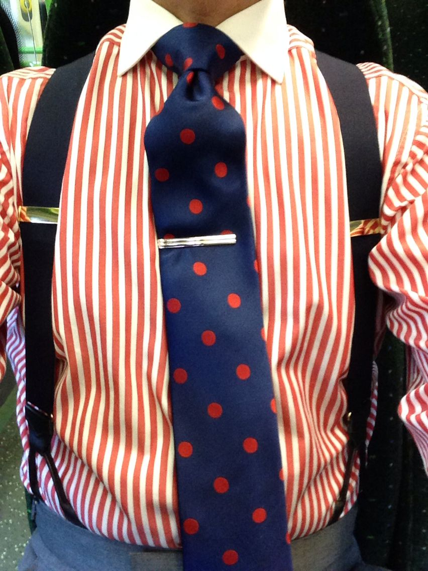 Orange stripe shirt with contrasting collar black braces for Striped shirt with tie