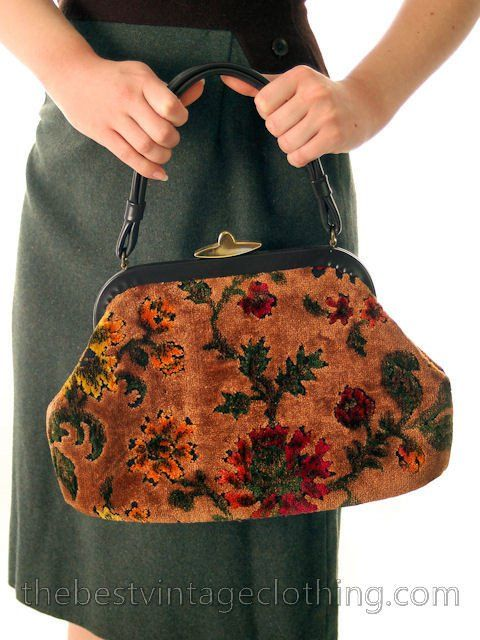 Vintage Tapestry Chenille Handbag Purse Carpet Bag Classic Autumn Colors Lassy Handbags