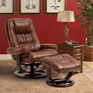 Lane 174 Andre Whiskey Top Grain Leather Reclining Chair And