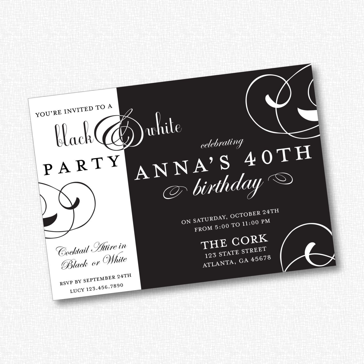 Black White Party Invitation Printable 21301 By Idconsultdesign