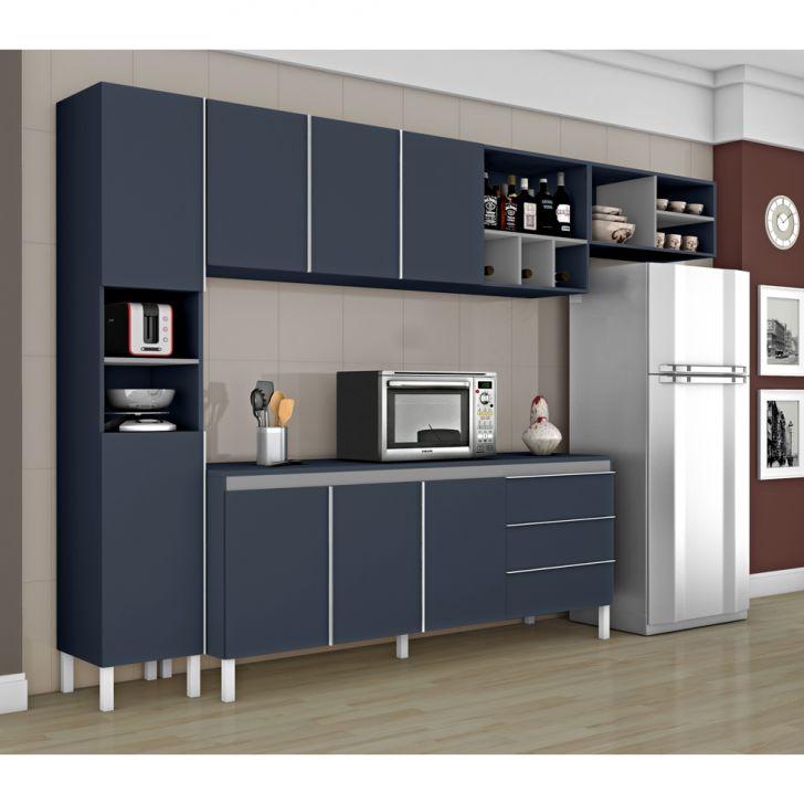 Cozinha Completa Nice I 8 Pt 3 Gv Azul E Cinza Moveis Cozinha