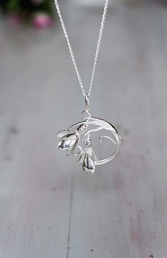Snowdrop Flower Pendant Sterling Silver Pendant Art Nouveau Pendant Botanical Jewelry Round Pend Sterling Silver Pendants Art Nouveau Pendant Jewelry Chest