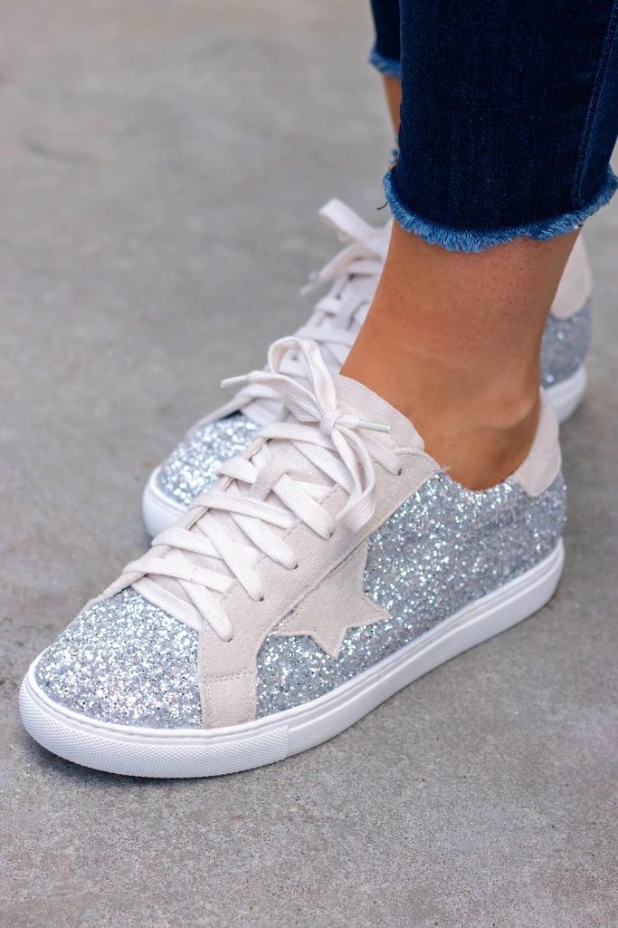 Silver Glitter Sneakers, Gym Shoes