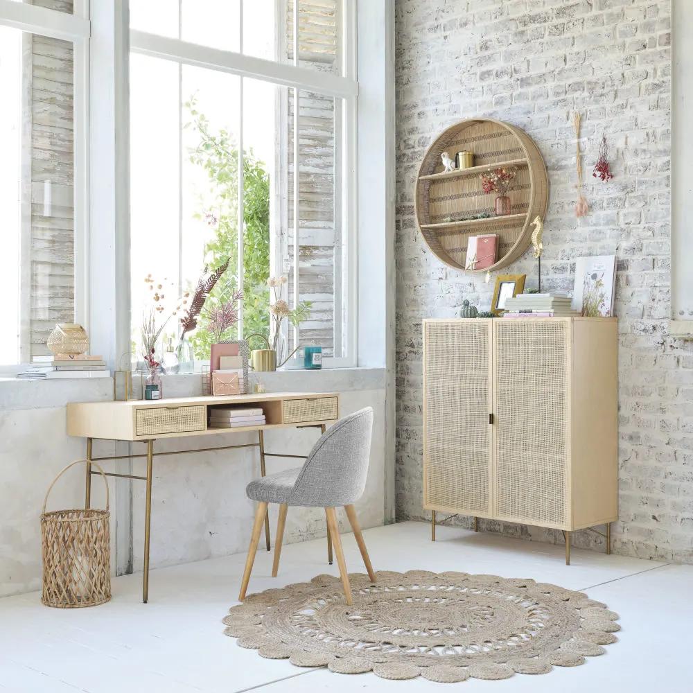 Bureau 2 Tiroirs Cannage En Rotin Maisons Du Monde Mobilier De Salon Decoration Maison Meuble Maison