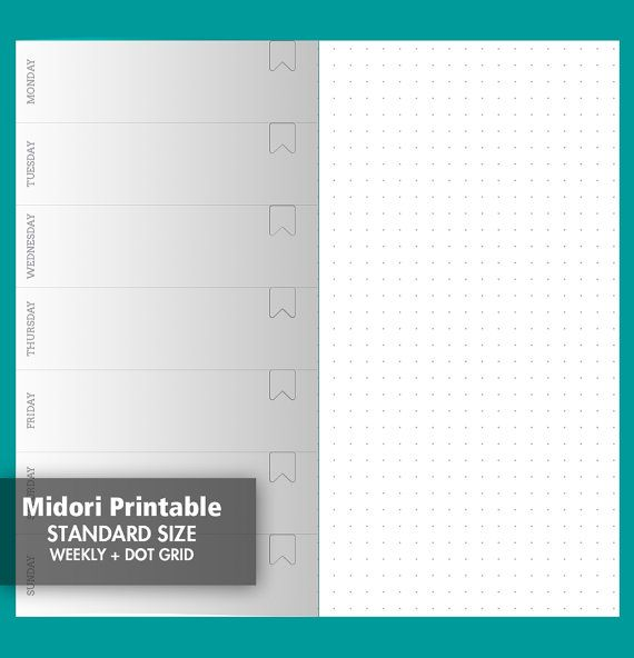 Weekly View Dot Grid Page, Wo1P - Traveler\'s Notebook Printable ...
