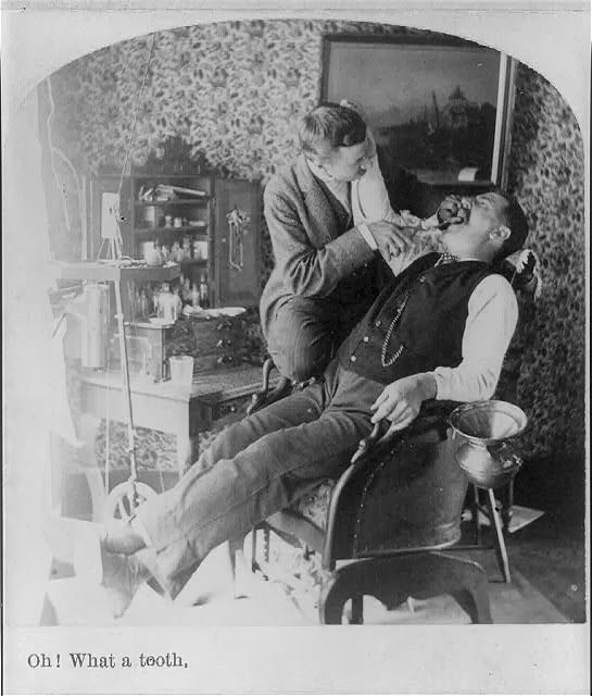 """""""Oh! What a tooth."""" A dentist pulling a tooth, c1890. Library of Congress, Prints & Photographs Division."""