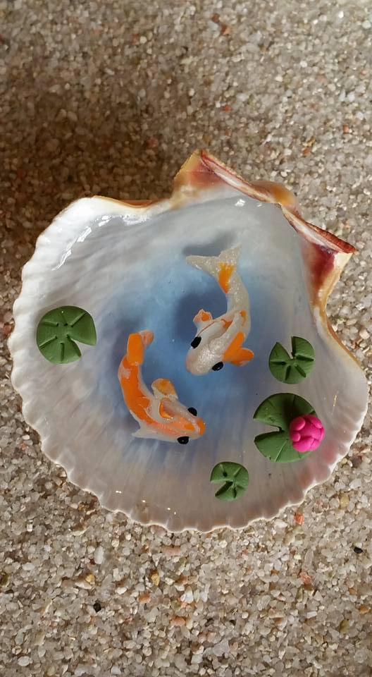 Miniature Koi Pond In Seashell Fairy Garden By