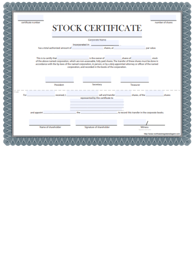 Free Certificate Of Stock Template Corporate Stock Certificates Stock Certificates Certificate Templates Free Certificate Templates