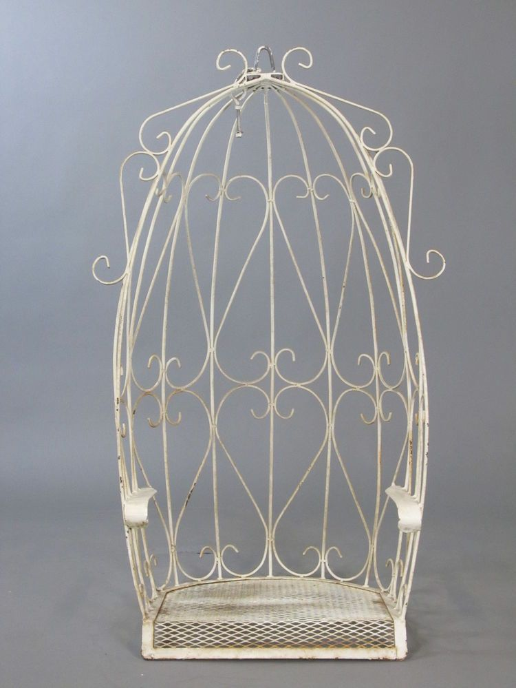 Vintage White Wrought Iron Canopy Egg Outdoor Garden Porch Hanging