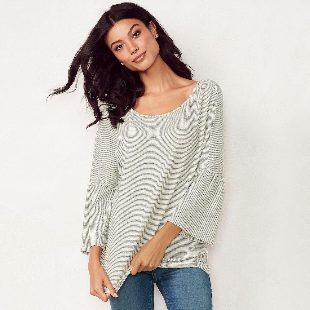 9d94873ec4dc68 Women s LC Lauren Conrad Printed Bell Sleeve Top in 2019