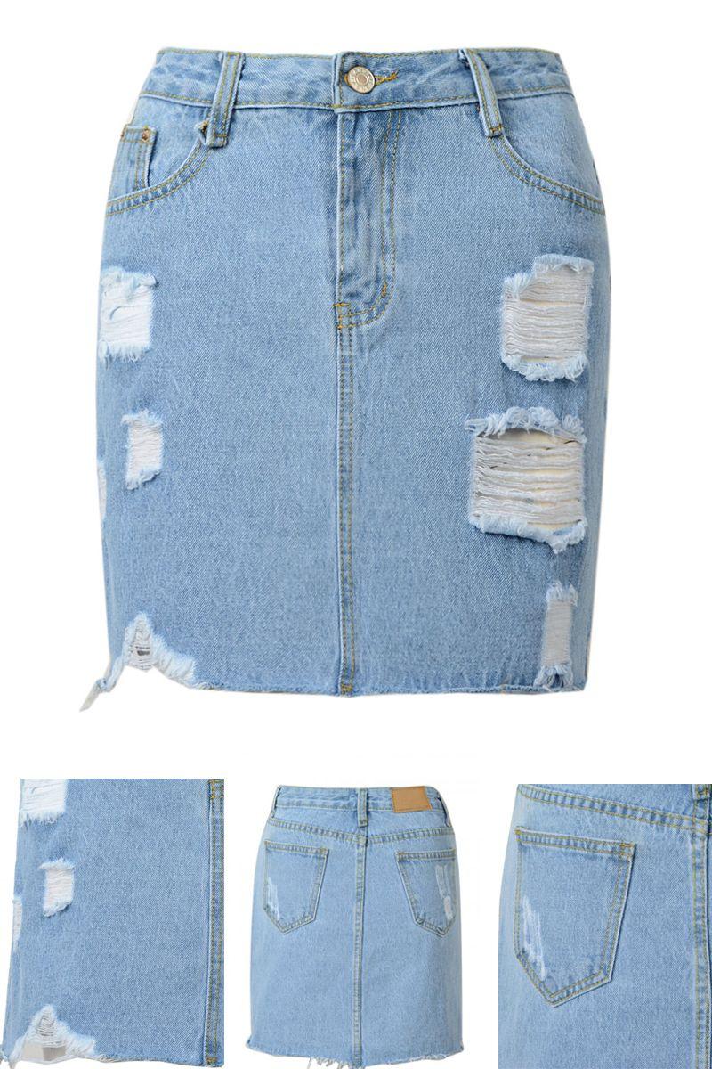 ca551c270 Blue Denim High Waist Ripped Pencil Mini Skirt | Faldas | Mini ...