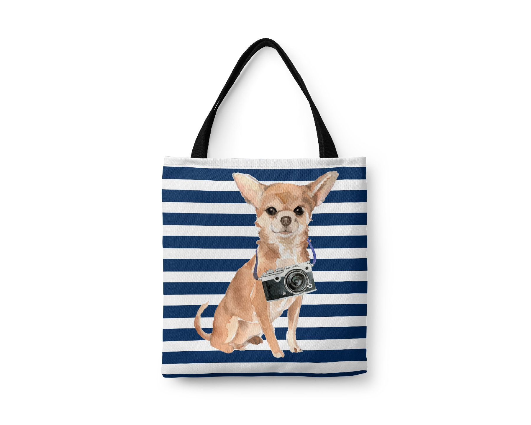Chihuahua Dog Tote Bag Illustrated Dogs 6 Travel Inspired