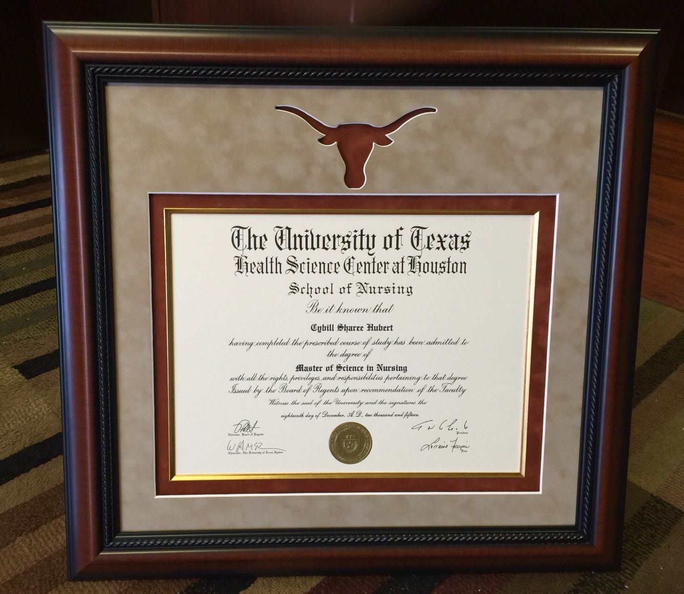 The University of Texas Degree Custom Framed. diploma