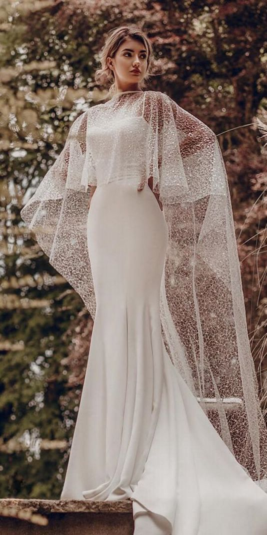 17 Simple And Unique Mermaid Wedding Dress Ideas Fashionable Cape Wedding Dress Wedding Dresses Juniors Cream Wedding Dresses