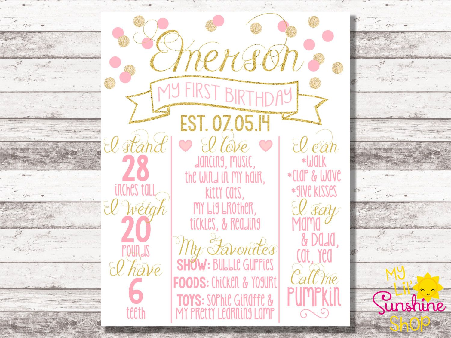 Pink and gold birthday poster 1st birthday 2nd birthday milestone poster pink gold for First birthday board template