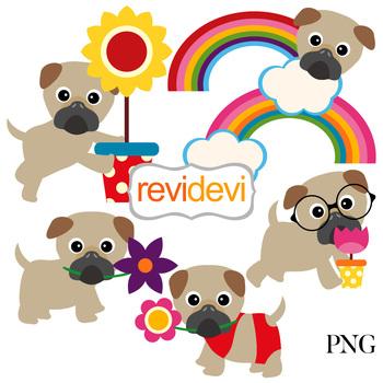Spring Pugs Clip Art Dog Clip Art Clip Art Animal Clipart
