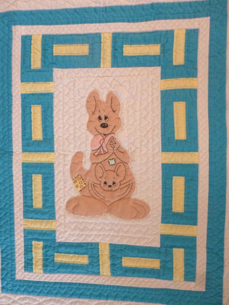 Vintage Hand Made Childs Baby Blanket Appliqued Crib Quilt Kangaroo