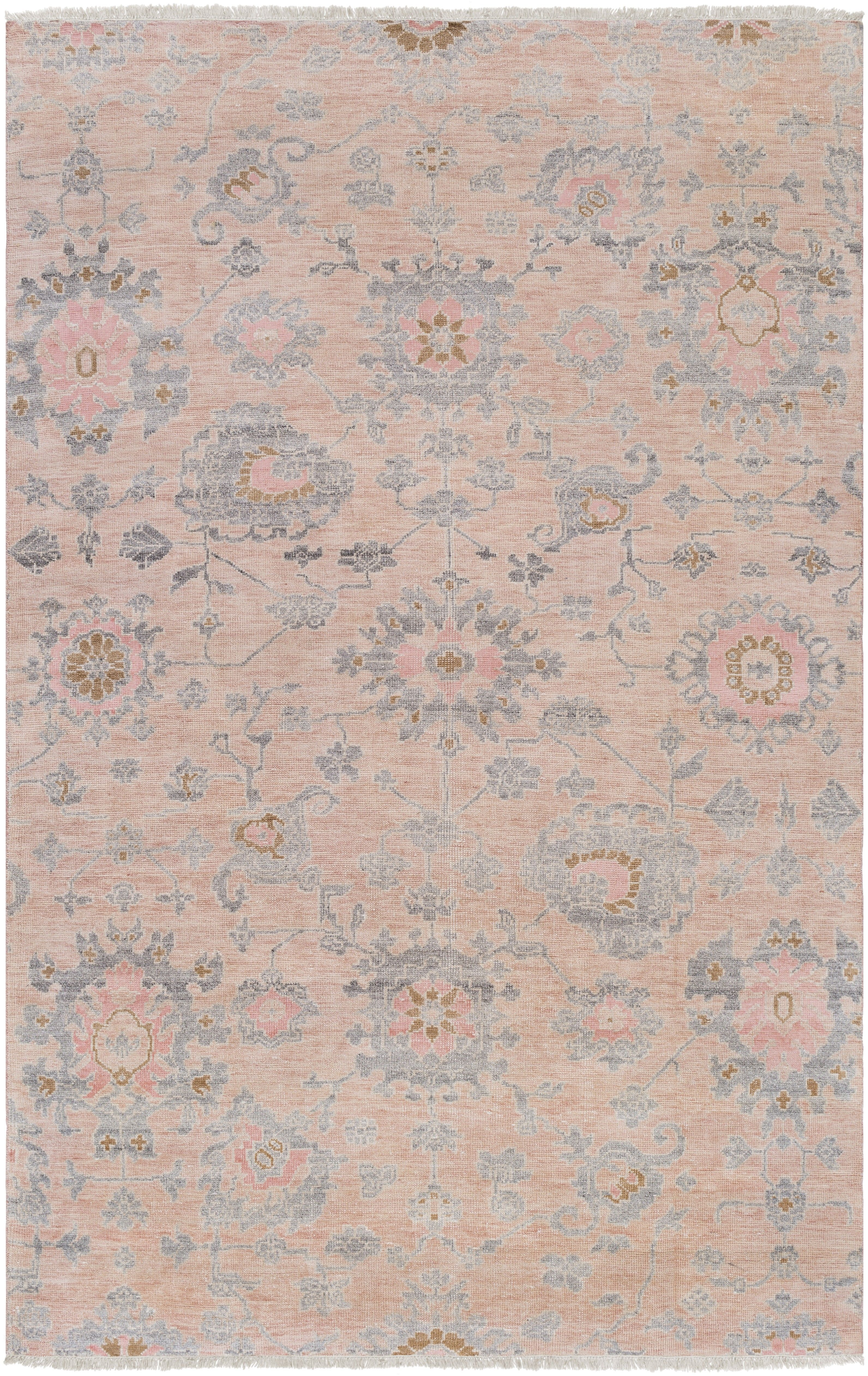 Norra Rug With An Antiqued Finish And Fringed Ends This Traditional Rug Makes A Stylish Addition To Any Space Instantly Pink Area Rug Pink Rug Gorgeous Rug