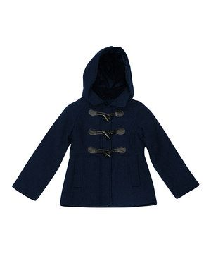 Navy Toggle Coat - Toddler & Girls by Pink Platinum