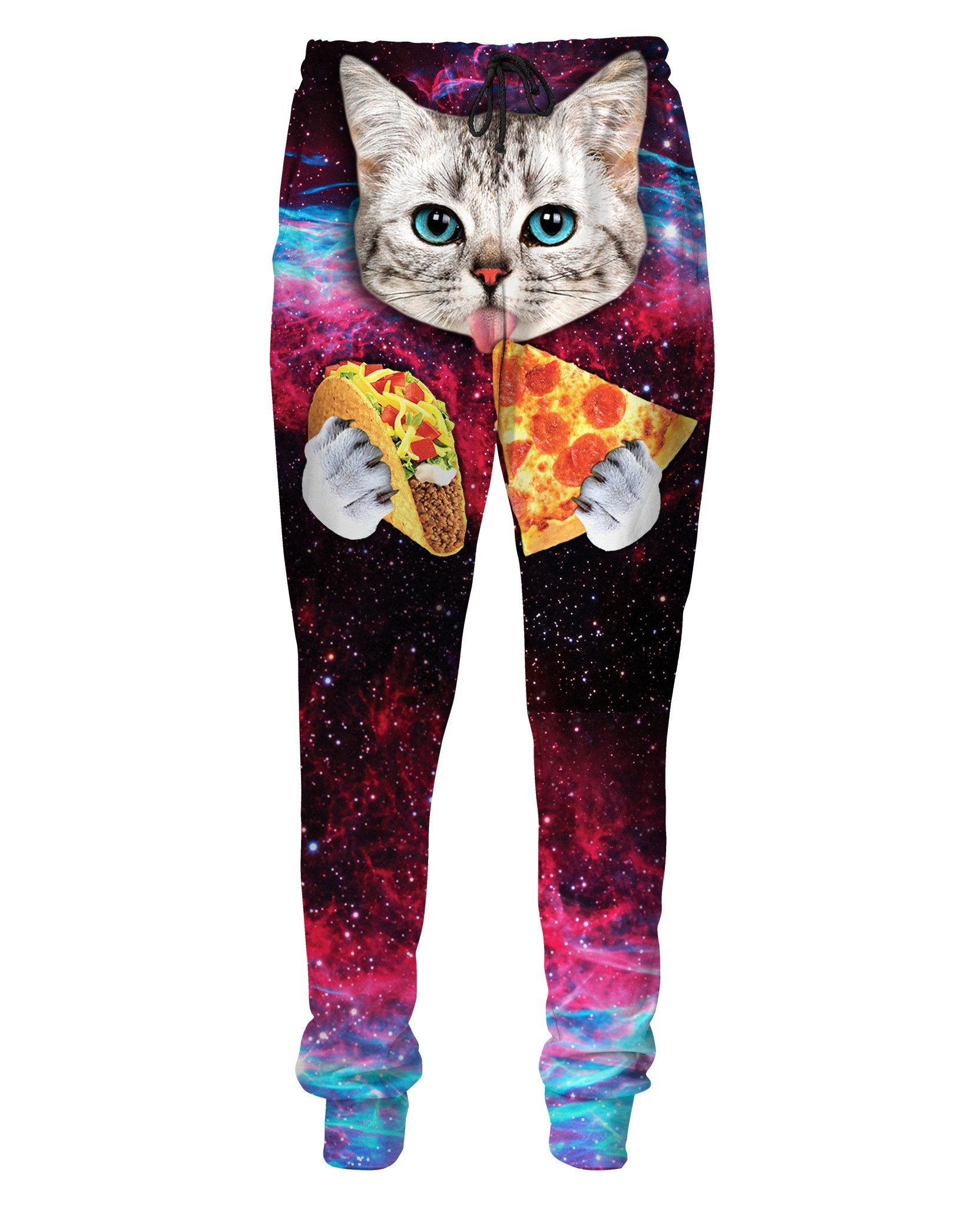 These Taco Cat Sweatpants features a cute cat with blue eyes eating tacos  and pizza in space! Get these vibrant sweatpants for your closet at RageOn!  for ... d7ca587cc
