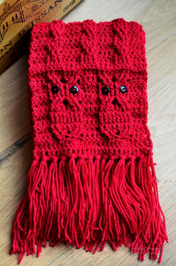 681678e32f8 Free Pattern  Delightful And Whimsical Owl Cabled Scarf