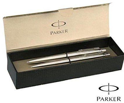 Black Ink Parker UK Parker Jotter Pen /& Pencil Stainless Steel set Gift Boxed