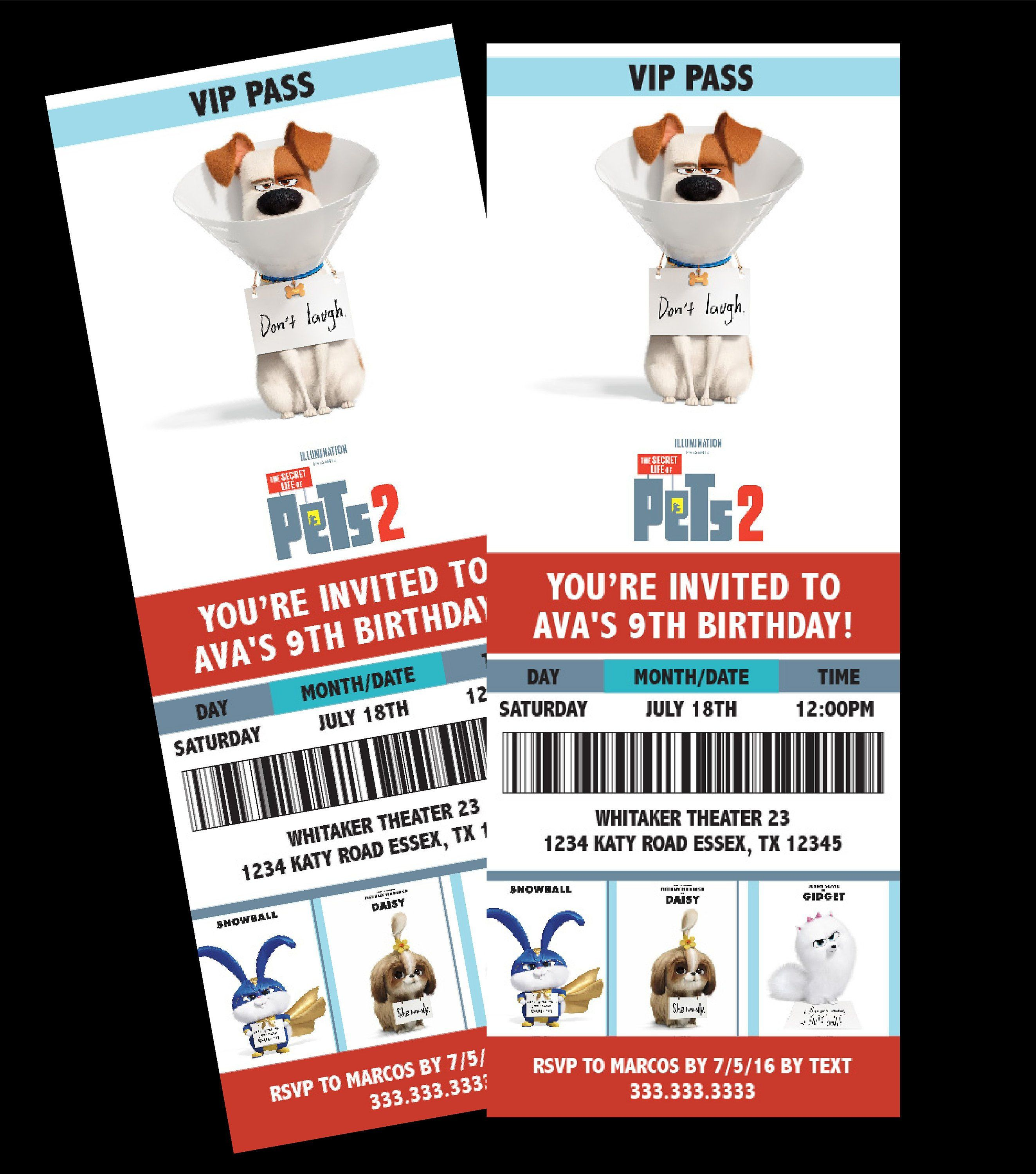 Secret Life Of Pets 2 Movie Ticket Themed Birthday Party Etsy Secret Life Of Pets Movie Invitation Birthday Party Themes