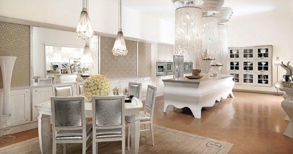 Valkoinen ylellinen keittiö suunnittelu ja koristelu