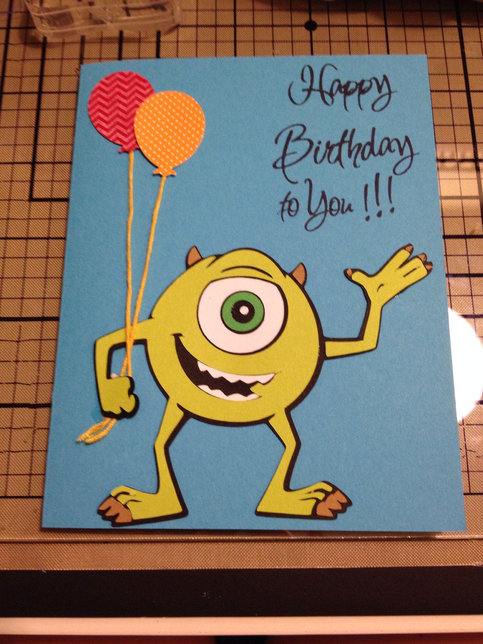 Monsters Inc Birthday Card Cricut Best Of Pixar Kids Birthday Cards Disney Cards Birthday Cards For Boys