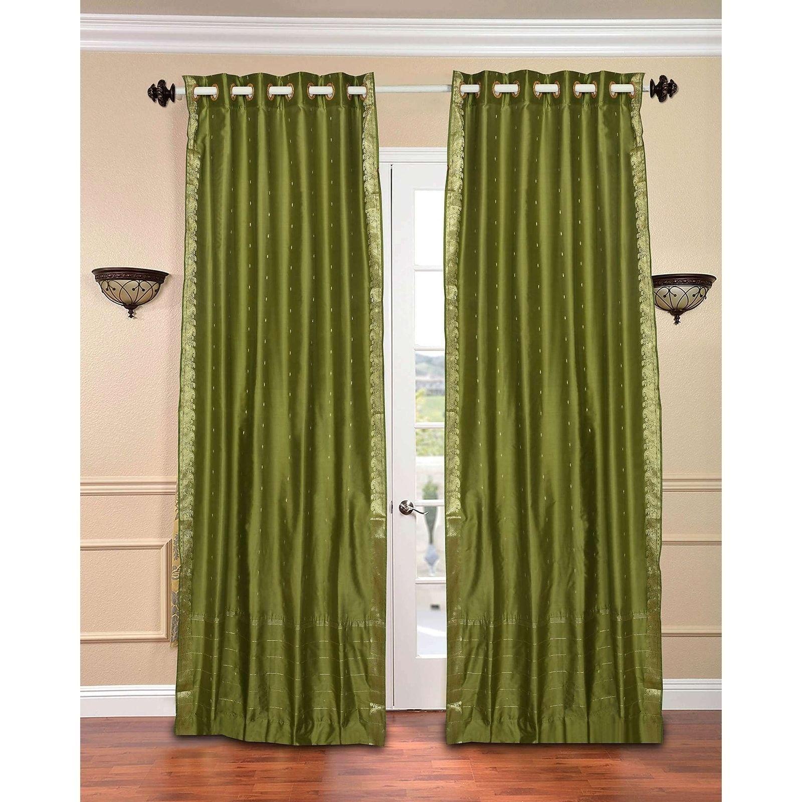 Indian Selections Olive Green Ring Top Sheer Sari Curtain / Drape ...