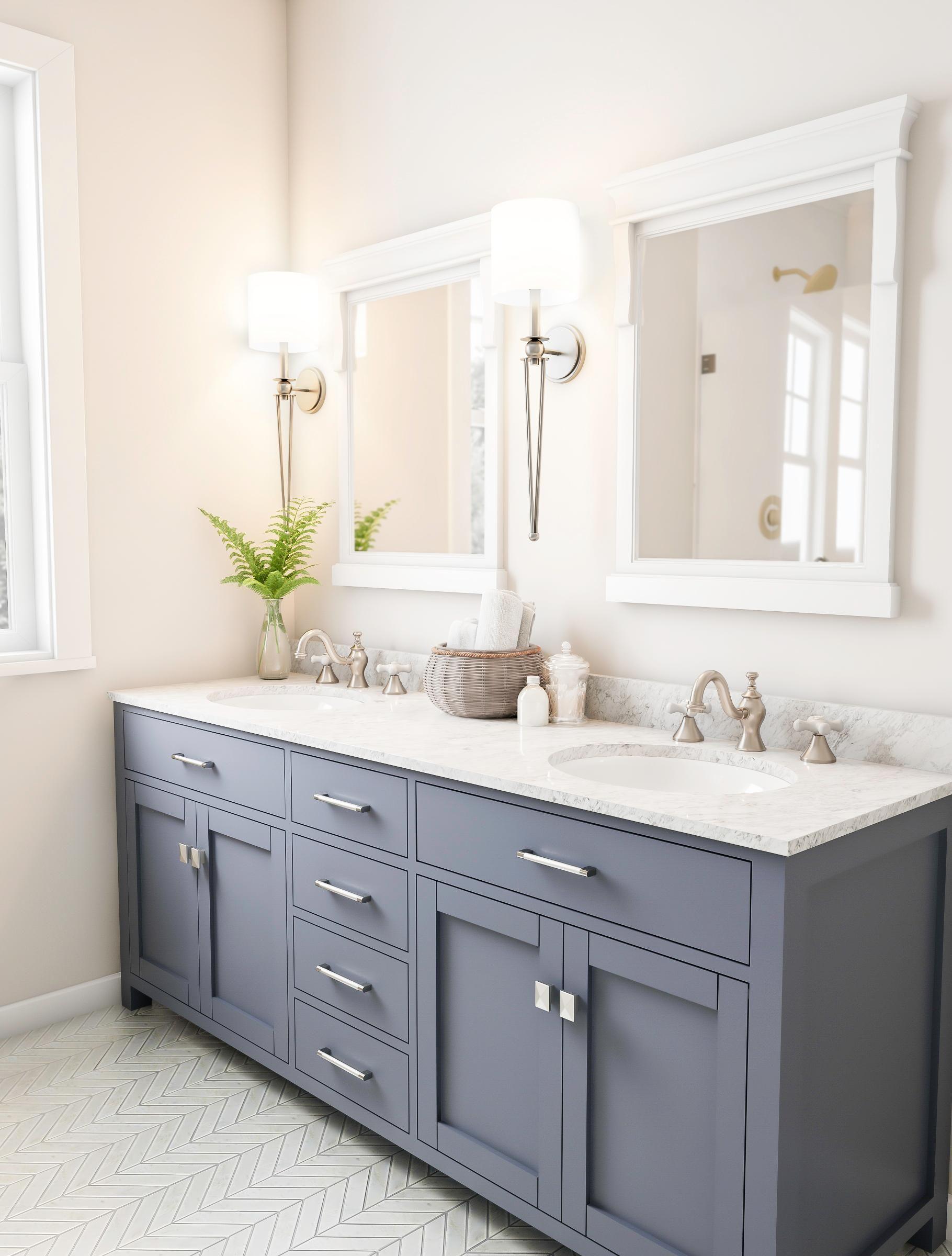 Slate Gray Double Bathroom Sinks Bathrooms Remodel Small Bathroom Remodel Blue Bathroom Decor