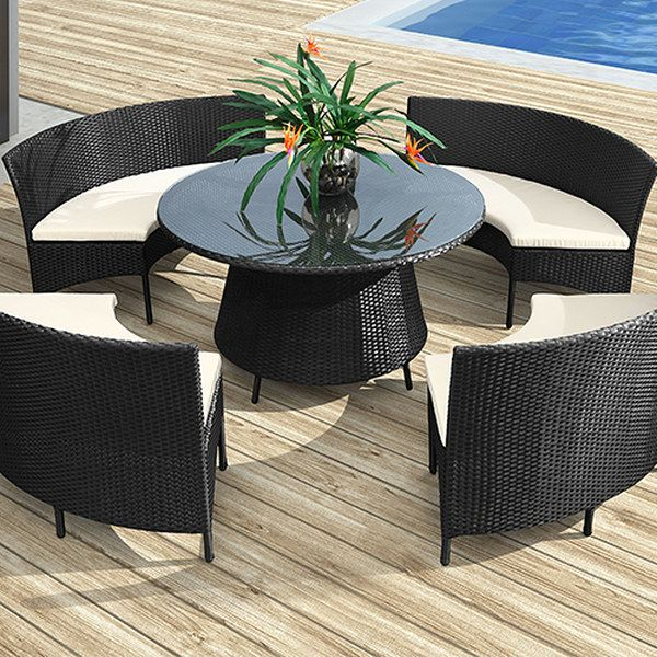 Zuo Modern Outdoor Furniture Set So Cool Black And White Wicker Patio For The Deck Or Beside Pool Center Table Is A Circle