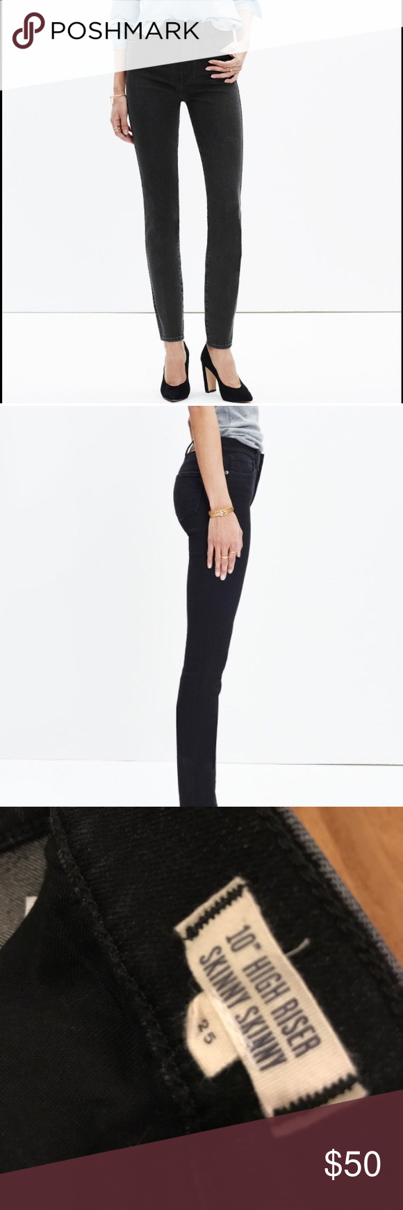 "Madewell High-Riser Skinny Dark Grey Jeans - 25 Madewell High-Riser Skinny Skinny 10"". Dark Grey Denin. Size 25. Worn twice! Excellent condition. Madewell Jeans Skinny"