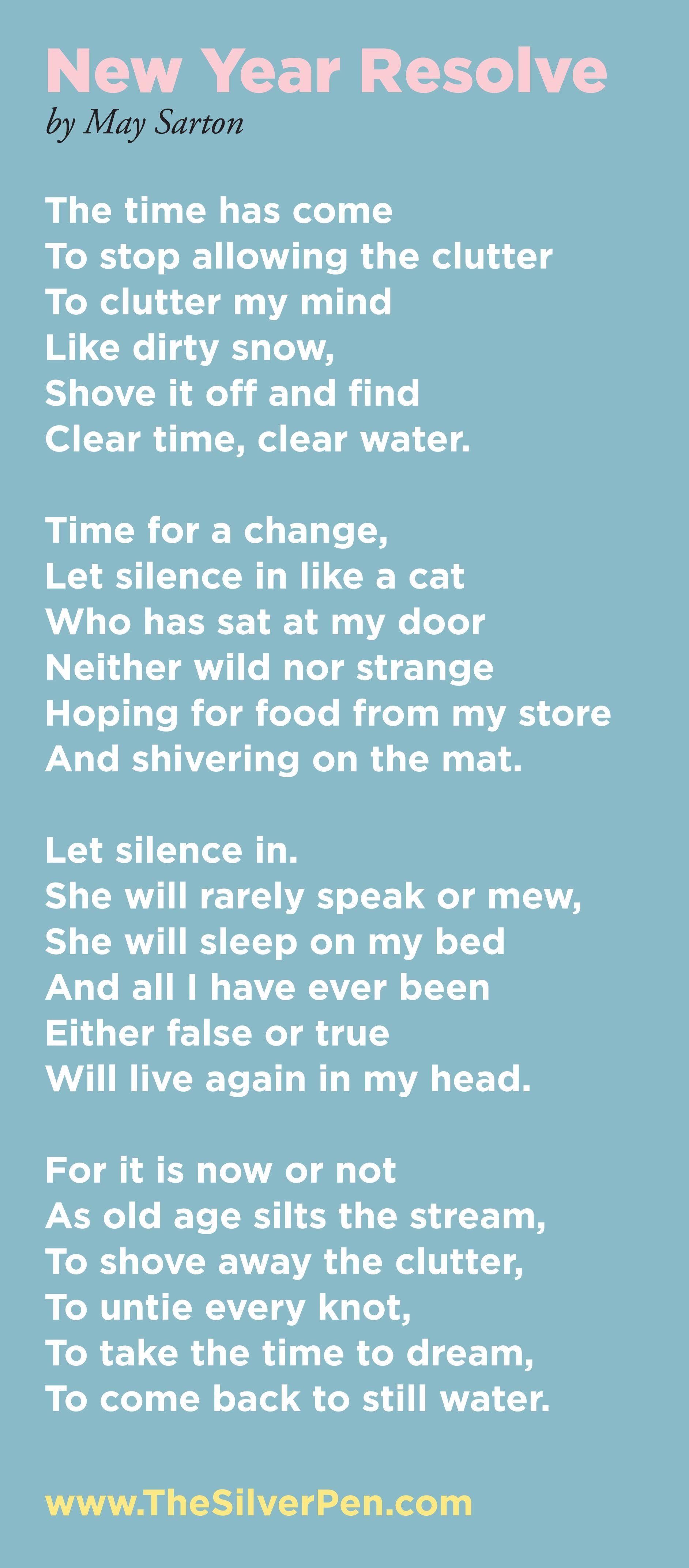 "May Sarton's poem, ""New Year Resolve"". | Cancer ..."