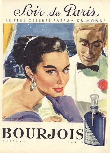 soir de paris bourjois 1957 affiche de raymond pierre. Black Bedroom Furniture Sets. Home Design Ideas