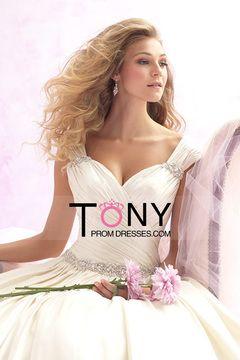 2015 jurk Off The Shoulder A Line Hof trein geplooide lijfje met kralen € 191.80 TPPALT39SB - TonyPromDresses.com