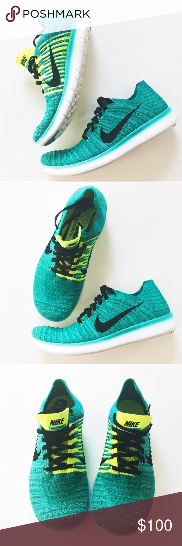 Nike free flyknit running shoes Brand new with box. These are light weight,  super