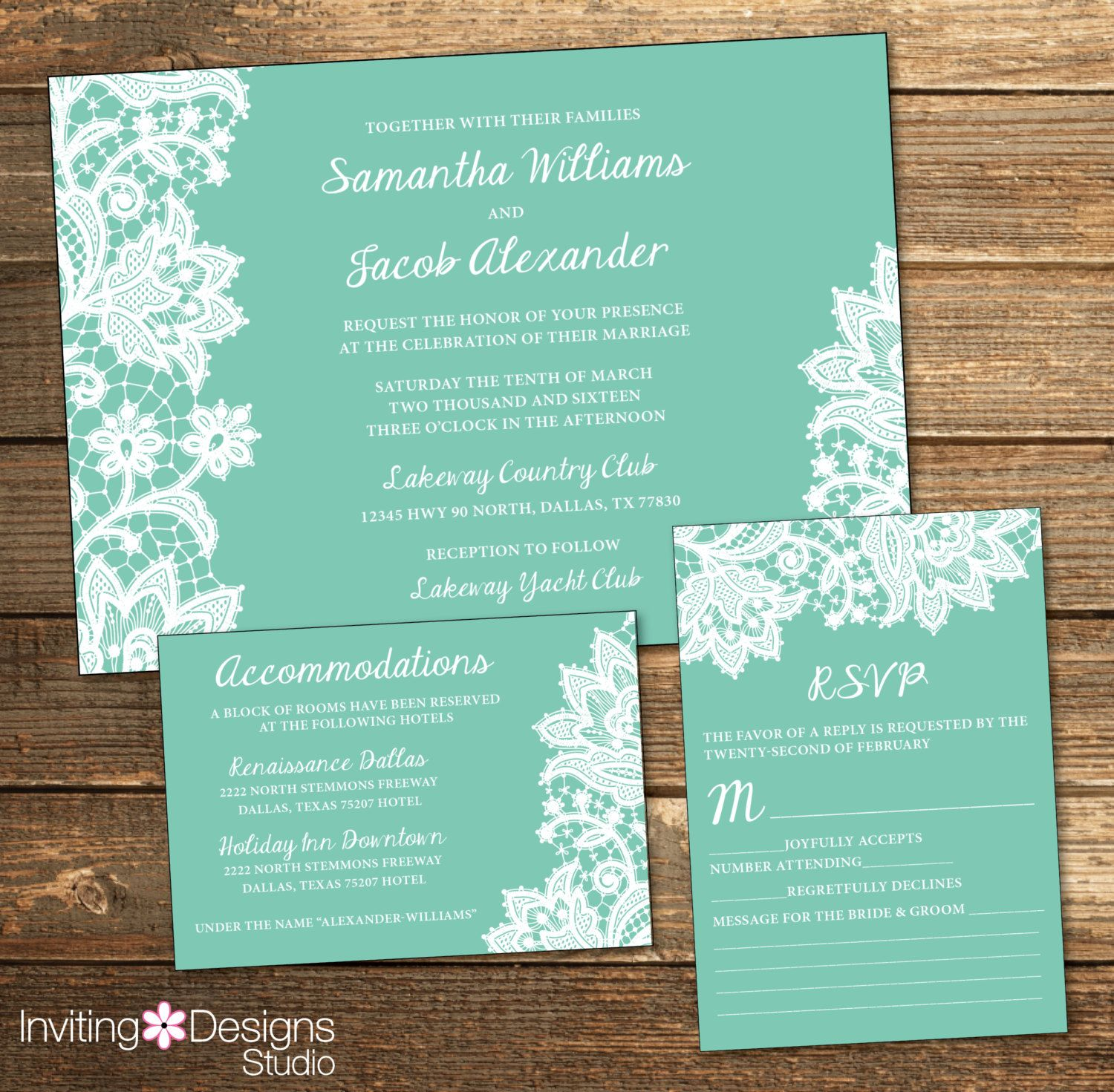 Lace Wedding Invitation White Lace Mint Mint Green And