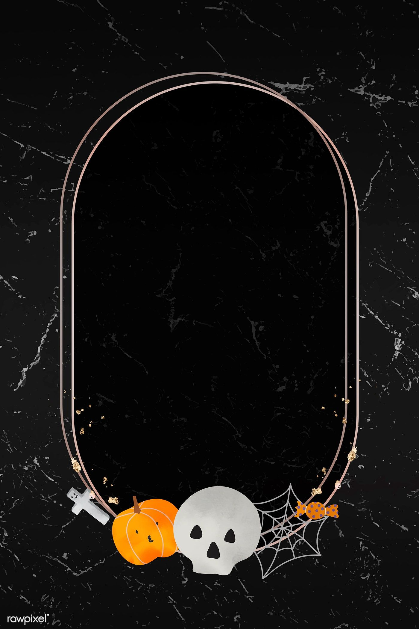Download premium vector of Halloween gold frame on black