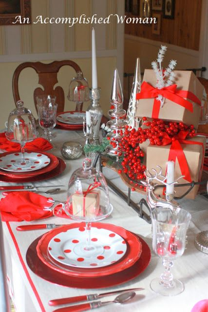 An Accomplished Woman A Brown Paper Christmas Table I want some red - christmas table decorations