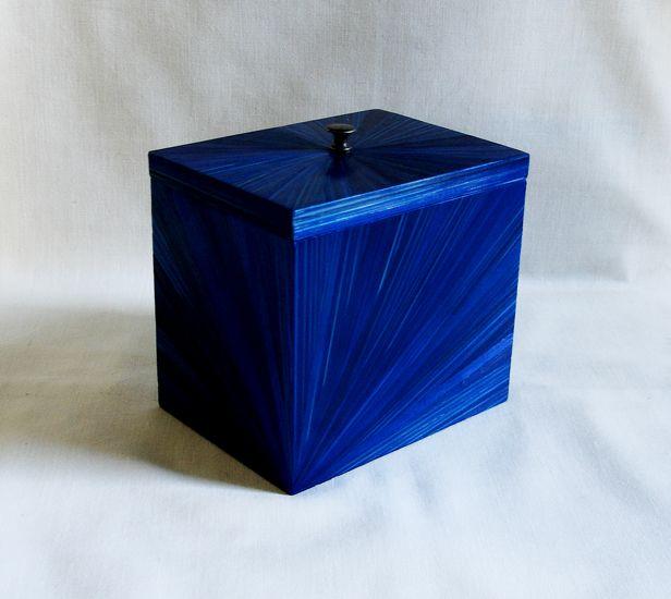 Boîte à thé, café... en marqueterie de paille bleu nuit