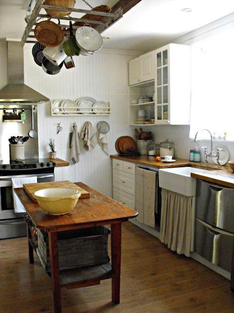 Farm Kitchen U003c3 Rustic Wood Prep Table, Pot U0026 Pan Rack , Sink Skirt