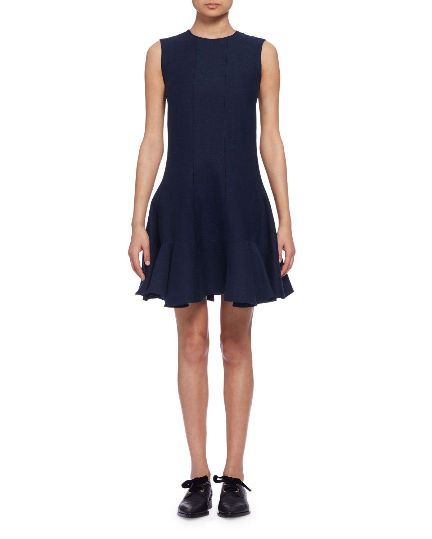 Lanvin Sleeveless Fit-&-Flare Dress, Navy