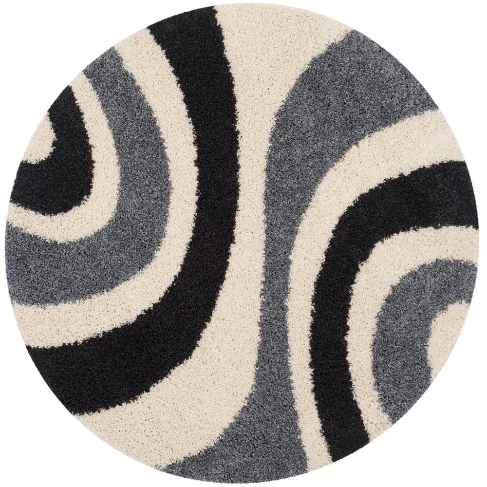 Art Shag Ivory Gray 5 Ft X 5 Ft Round Area Rug Rugs Area Rugs