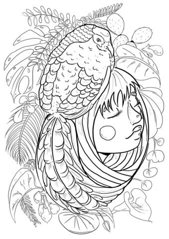 Girl With Pheasant Coloring Pages Adult Clor
