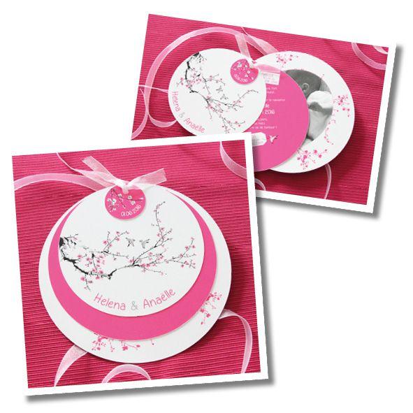 faire part naissance rond jumelles cerisier japon faire. Black Bedroom Furniture Sets. Home Design Ideas