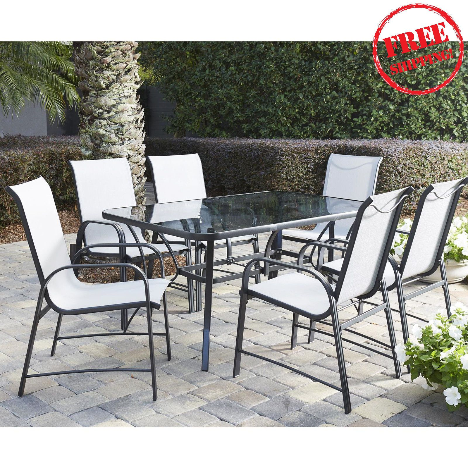 7 Piece Outdoor Dining Set Patio Furniture Table and Chairs Steel