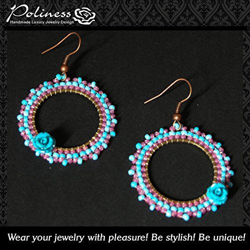Handmade beaded hoop earrings with blue rose -- Check out the image by visiting the link.Note:It is affiliate link to Amazon.