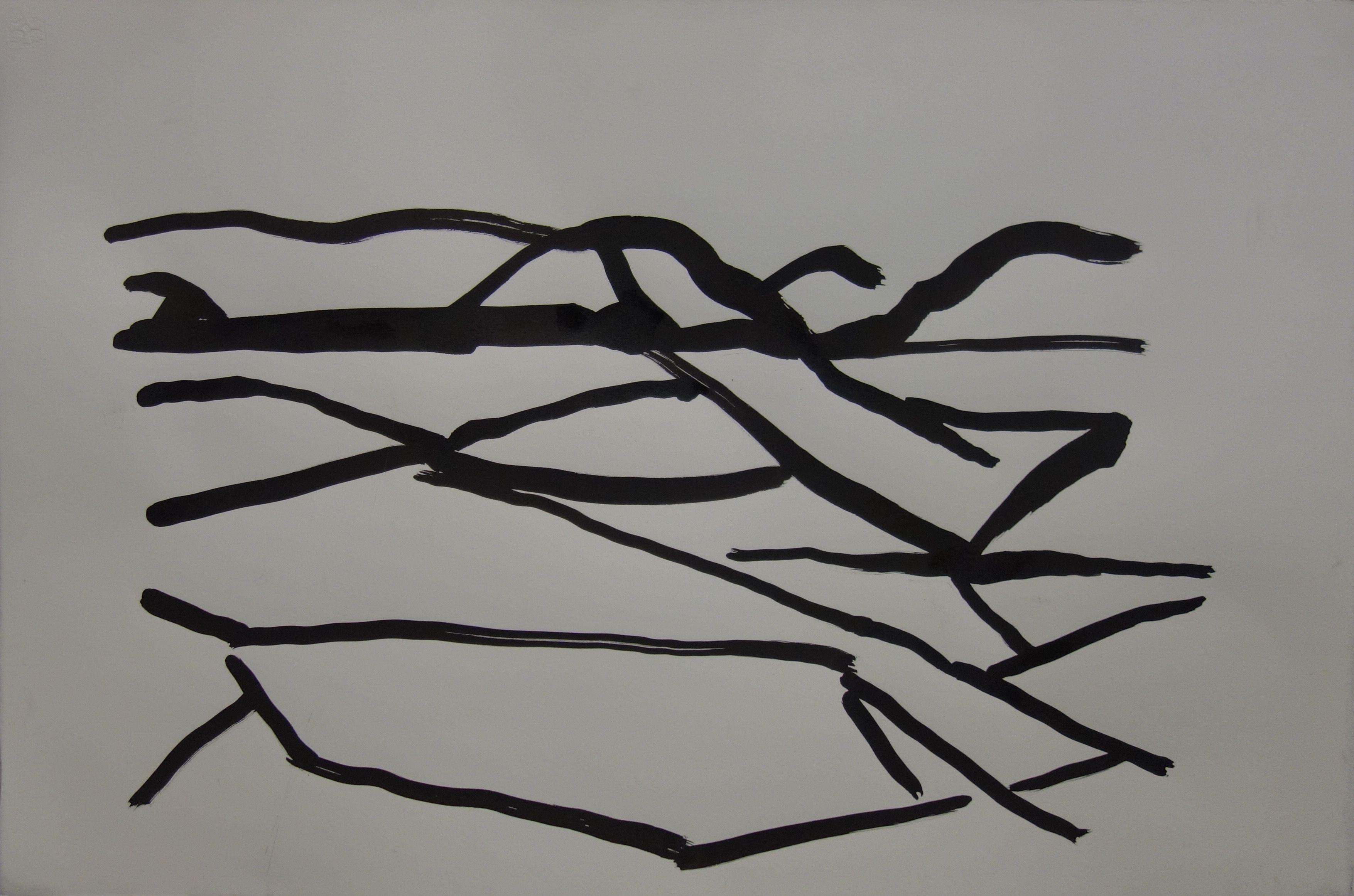 Islossning, tusch, 38x56cm